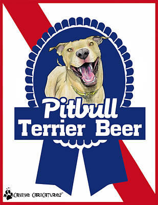 Drawing - Pit Bull Terrier Beer by John LaFree