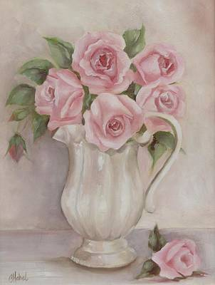Pitcher Of Roses Art Print