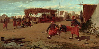 Winslow Homer Painting - Pitching Quoits by Winslow Homer