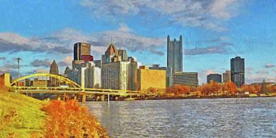 Digital Art - Pittsburgh From The Shore Of The Ohio River by Digital Photographic Arts