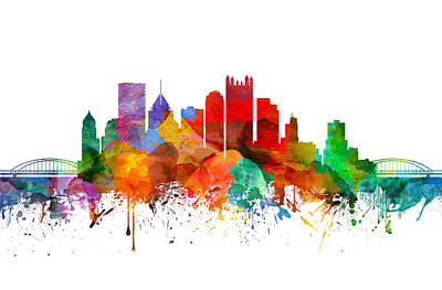 Pittsburgh Skyline Painting - Pittsburgh Pennsylvania Skyline 19 by Aged Pixel