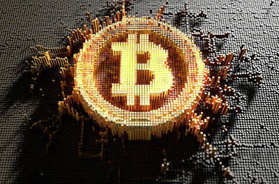 Numbers Digital Art - Pixel Bitcoin Concept by Allan Swart