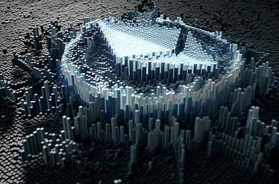 Virtual Digital Art - Pixel Ethereum Concept by Allan Swart