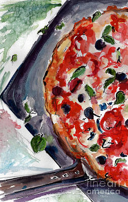 Painting - Pizza Diptych Original Italian Food Left Half by Ginette Callaway