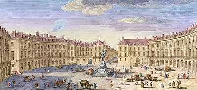 City Scenes Drawing - Place Des Victoires by Jacques Rigaud