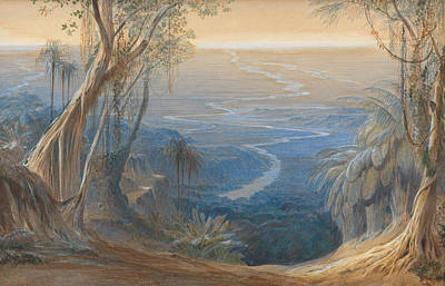 Drawing - Plains Of Bengal, From Above Siligoree by Edward Lear