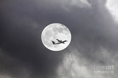 Photograph - Plane In Night Sky by Donna Munro
