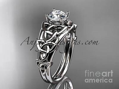 Jewelry - Platinum Celtic Trinity Knot Engagement Ring , Wedding Ring Ct765 by AnjaysDesigns com