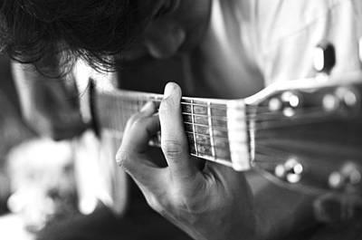 Play Acoustic Guitar Art Print by Nattapon Wongwean