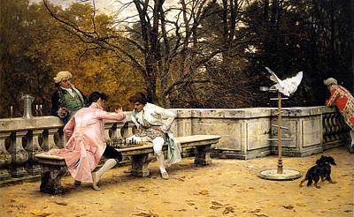 Chess Men Painting - Playing Chess On The Terrace by Charles Bargue