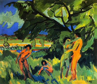 Outdoor Nude Painting - Playing Nudes Under Trees by Ernst Ludwig Kirchner