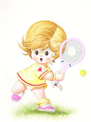 Sports Paintings - Playing tennis by Laura Greco