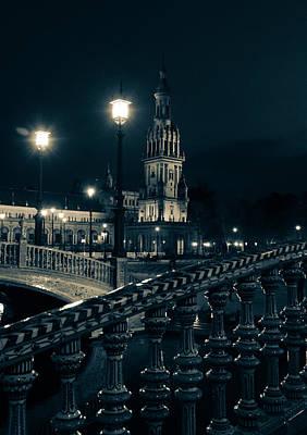 Architecture Photograph - Plaza De Espana At Night - Seville  by Andrea Mazzocchetti