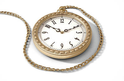Gold Chain Digital Art - Pocket Watch On Chain by Allan Swart