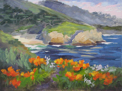Point Lobos Painting - Point Lobos Spring by Karin Leonard
