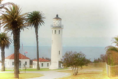 Point Vincente Lighthouse, California In Retro Style Art Print