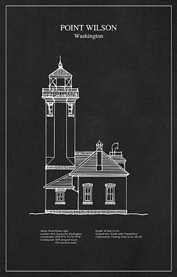 Lighthouse Digital Art - Point Wilson Lighthouse - Washington - Blueprint Drawing by Jose Elias - Sofia Pereira