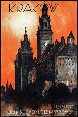 Poland Krakow Vintage Travel Poster Restored Art Print by Carsten Reisinger