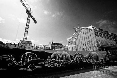 polar bear mural on protective hoardings surround a building site in downtown reykjavik Iceland Art Print