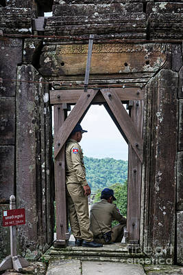 Photograph - Police Man Security Guards At Preah Vihear Landmark Temple Cambo by Jacek Malipan
