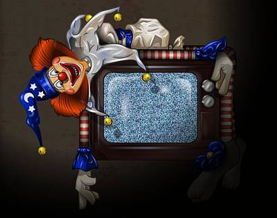 Spooky Digital Art - Poltergeist Clown by Andy Bauer