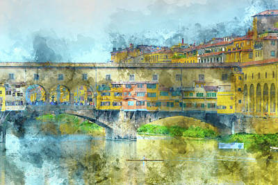 Photograph - Ponte Vecchio On The River Arno In Florence Italy by Brandon Bourdages