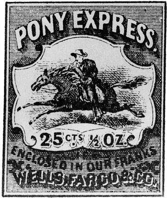 Pony Express Photograph - Pony Express Stamp by Photo Researchers, Inc.