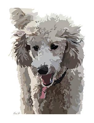 Poodle Digital Art - Poodle Portrait II by Kris Hackleman