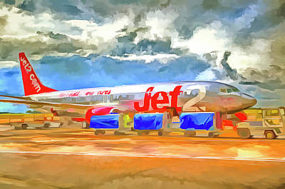 Mixed Media - Pop Art Airliner by David Pyatt