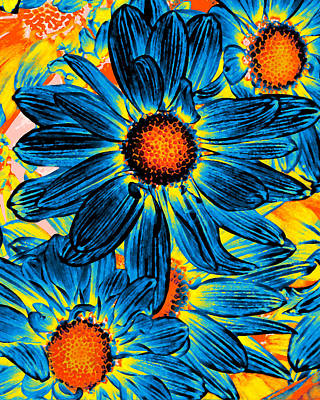 Warm Colors Painting - Pop Art Daisies 11 by Amy Vangsgard