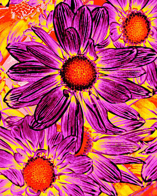 Royalty-Free and Rights-Managed Images - Pop Art Daisies 16 by Amy Vangsgard