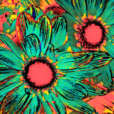 Pop Art Daisies 3 Art Print by Amy Vangsgard