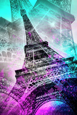 Paris Digital Art - Pop Art Eiffel Tower by Melanie Viola