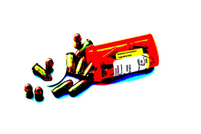 Pop Art Of .45 Cal Bullets Comming Out Of Pill Bottle Art Print by Michael Ledray