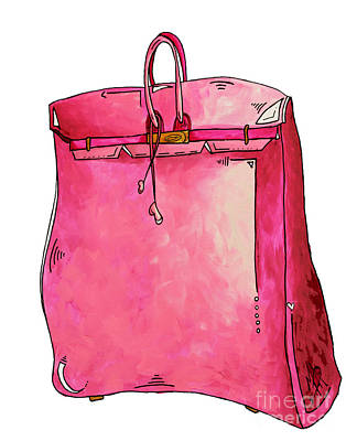 Abstract Purse Painting - Pop Of Pink Pop Art Couture Purse Birkin Style Bag By Megan Duncanson by Megan Duncanson
