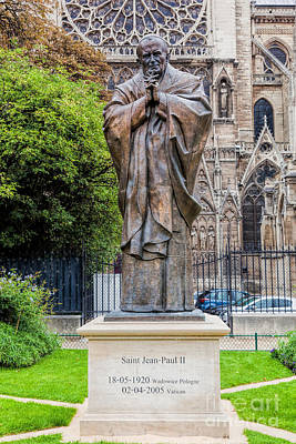 Cross Photograph - Pope John Paul II Statue Next To Notre Dame Cathedral In Paris, France by Michal Bednarek