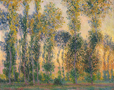 French Painting - Poplars At Giverny, Sunrise by Claude Monet