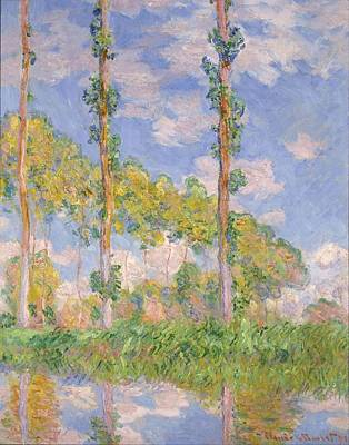 Andscape Painting - Poplars In The Sun by Claude Monet