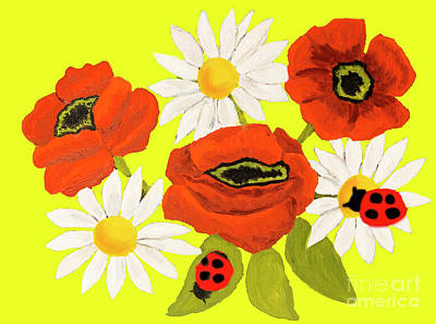 Painting - Poppies And Camomiles, Painting by Irina Afonskaya