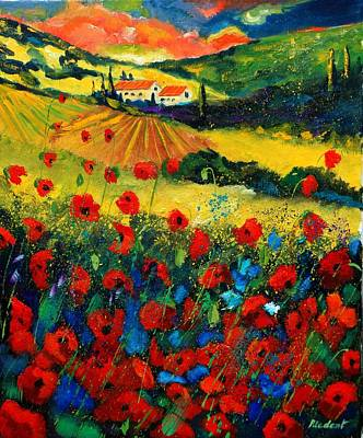 Railroad - Poppies In Tuscany by Pol Ledent