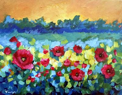 Floral Hand-painted Frame Painting - Poppies by Venus