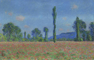 Poppies Field Painting - Poppy Field, Giverny by Claude Monet