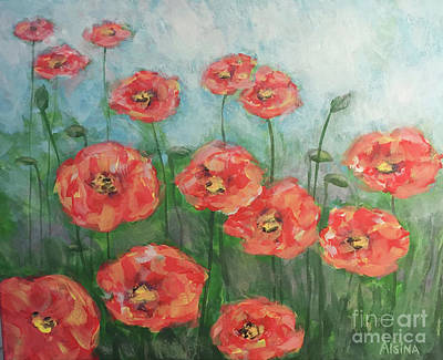 Wall Art - Painting - Poppy Fields. by Raul Alsina
