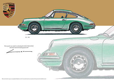 912 Drawing - Porsche 912 1965 by Luc Cannoot
