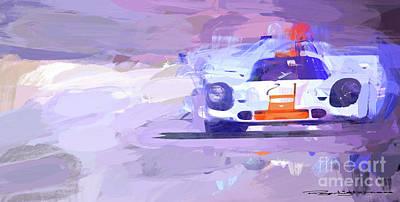 Mixed Media - Porsche 917 Gulf by Roger Lighterness