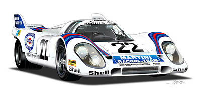 Martini Drawing - Porsche 917 Illustration by Alain Jamar