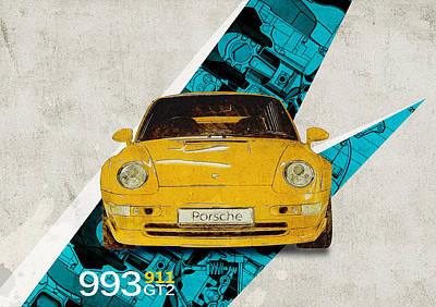 Boxer Digital Art - Porsche 993 Gt2 by Yurdaer Bes