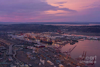 Skylines Royalty-Free and Rights-Managed Images - Port of Seattle Sunrise by Mike Reid