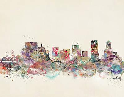 Colourfull Painting - Portland City Skyline by Bri B