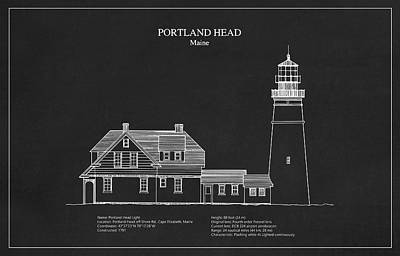Portland Head Lighthouse - Maine - Blueprint Drawing Art Print by Jose Elias - Sofia Pereira